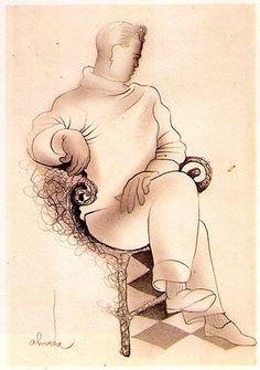 Figura masculina sentada.  Lápis papel.  José de Almada Negreiros (1873 - 1970 )