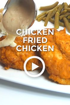 Chicken Fried Chicken with Country Gravy Chicken Fried Chicken with Country Gravy is a true family favorite! Crisp fried chicken smothered in a spicy, creamy gravy. Dinner never looked or tasted so good! Fried Chicken Gravy, Country Fried Chicken, Fried Chicken Dinner, Gravy For Chicken, Fried Chicken Side Dishes, Homemade Fried Chicken, Roasted Chicken, Chicken Sauce Recipes, Sauce For Chicken