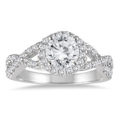 1 1/2 Carat Twisted Split Shank Halo Engagement Ring in 14K White Gold ** Click image to review more details.