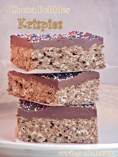 Cocoa Pebbles Krispies from cravingsofalunati. Easy to make Cocoa Pebble Krispies with a Nutella Ganache over top then sprinkles over that for fun. Perfect for kids parties or just for a fun weekend snack. Just Desserts, Delicious Desserts, Dessert Recipes, Yummy Food, Baking Desserts, Cereal Recipes, Yummy Yummy, Nutella Brownies, Nutella Ganache