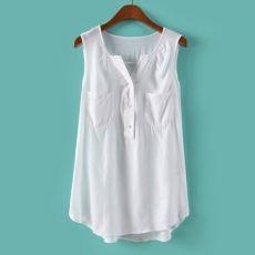 cdb05d08c2 Solid V Neck Sleeveless Chiffon Blouse. Camisas Con SueterBlusas De ...