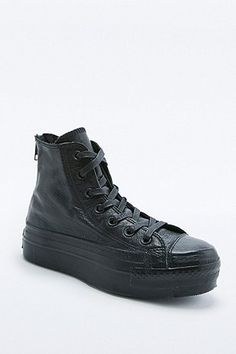 8f644bc6a0a Converse Chuck Taylor Black Leather Platform High-Top Trainers