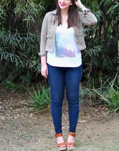 Olive Green Army Jacket + Graphic Tank Top + Skinny Jeans + Espadrille Wedges #outfit #spring #casual
