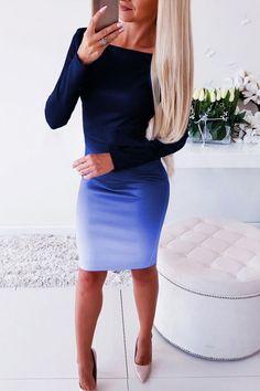 Office lady Elegant Dress Womens New Long Sleeve Ladies Stretch Bodycon Plain Dress Long Tunic Gradient Dresses OL Clothes 2020 Club Dresses, Plus Size Dresses, Maxi Dresses, Fashion Dresses, Long Dresses, Evening Dresses, Stylish Dresses, Casual Dresses, Plain Dress