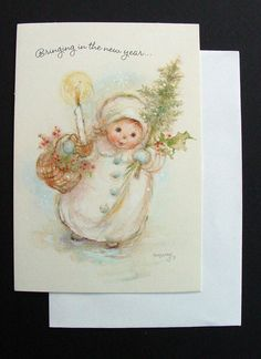 F109 Vintage Mary Hamilton Xmas Greeting Card Girl with Holiday Gifts in Hand | eBay