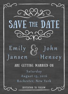 Chalkboard Photo Wedding Save the Date Card | CatPrint Design #999