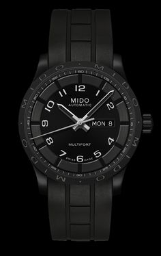 Mido Men's Multifort all back with white dial markers and rubber band style #: M018.430.37.052.00 www.midowatch.com