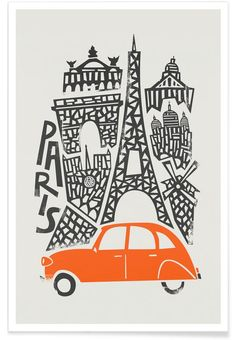 Fox and Velvet invite you to a world tour of emblematic cities, in a naïve and minimalist graphic style. Here a design of Paris, city of France. Art-Poster and prints published by Wall Editions. Illustration Format : 50 x 70 cm Illustration Design Graphique, Travel Illustration, Illustration Parisienne, Art Parisien, Design Autos, Plakat Design, Kunst Poster, Paris Art, Postcard Design