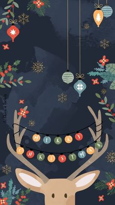 Reindeer Christmas Phone Wallpaper Background Phone Android Apple Ornament Merry Christmas Wallpaper Christmas Doodles