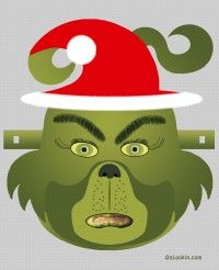 Grinch Santa Face Mask Cut Out