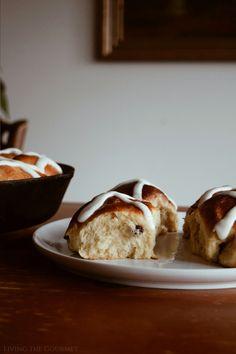 Hot Cross Buns - Living The Gourmet Breakfast Recipes, Dessert Recipes, Desserts, Breakfast Ideas, British Cake, Hot Cross Buns, Spice Cake, Easter Dinner, Dry Yeast