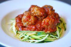 Zucchini Spaghetti & Meatballs #paleo