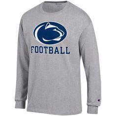 Men s Champion Gray Penn State Nittany Lions Football Drop Long Sleeve T- Shirt Drop 38d40cf4a