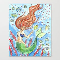 Little+Mermaid+Stretched+Canvas+by+sacari+-+$85.00