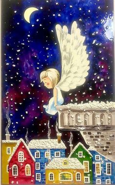 Christmas Scenes, Christmas Art, Christmas Angels, Vintage Christmas, D N Angel, Angel Art, Art And Illustration, Art Fantaisiste, Whimsical Art