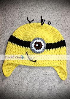 Despicable Me Minion Crochet Ear-flap Hat by RachelC. Creations- https://www.facebook.com/RachelC.Creations