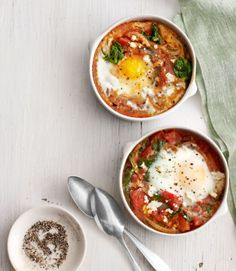 You'll be glad these Baked Eggs with Spinach and Tomatoes come in individual ramekins, because you won't want to share.