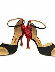 afbc59845 Women's Latin Shoes / Salsa Shoes Sparkling Glitter / Silk Sandal / Heel  Buckle / Ribbon Tie Customized Heel Customizable Dance Shoes Black / Silver  / Red ...