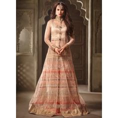 Light Peach and Orange Party Wear Lehenga