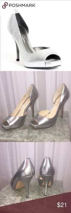 """Jessica Simpson josette pumps 👠 Open toe pumps. Padded footbed. No skid sole. 4"""" heel. Some knicks and scuffs due to storage without box. No box. Jessica Simpson Shoes Heels"""