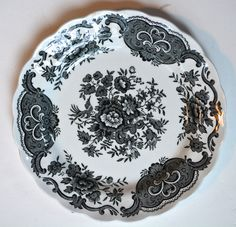 "Ridgway Black Toile English Transferware Plate Roses Birds Windsor Asiatic Pheasants 8"""