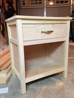 Cooper Night Stand by Jennifer Romo Engineer DIY Furniture Plans Kreg Joinery used here Diy Furniture Easy, Wood Pallet Furniture, Woodworking Furniture, Repurposed Furniture, Furniture Projects, Wood Projects, Woodworking Projects, Woodworking Plans, Woodworking Beginner