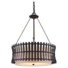 """Featuring a hand-tied rattan shade and cinched silhouette, this lovely pendant casts a stylish glow over your decor.  Product: PendantConstruction Material: Rattan, linen and metalColor: Bronze and beige  Features:  Diffuser to gently disperse lightHandcrafted shade  Accommodates: (3) 60 Watt bulbs - not includedDimensions: Rattan Shade: 8"""" H x 22"""" DiameterOverall: 27"""" H x 22""""  Diameter"""