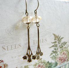 Jonquil flower earrings brass floral drops by botanicalbird