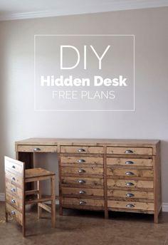 Diy Furniture: DIY Hidden Desk - its not a printers cabinet - its. Furniture Projects, Furniture Makeover, Home Furniture, Furniture Design, Diy Projects, Modern Furniture, Furniture Dolly, Chair Design, Hidden Desk