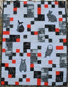 Quilt Kit for Infant-Toddler Quilt in Black and Cream Prints from the Savannah Collection by Gingiber