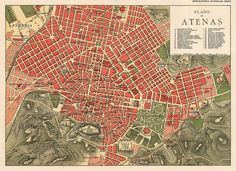 Old map of Athens - Fine archival reproduction on paper or canvas Planning Maps, Urban Planning, Athens Map, Old Maps, City Maps, Vintage Maps, Pigment Ink, Dungeons And Dragons, Canvas Prints