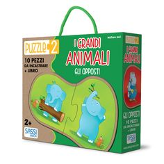Learn about opposites with large animals: on top and below, big and small, dirty and clean, day and night, light and heavy. Read the book and have fun with large animals! Large Animals, Puzzle, Little Books, Educational Toys, Have Fun, Learning, Children, Eco Friendly, English