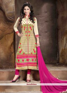 Hina Khan Silk Churidar Salwar Suit