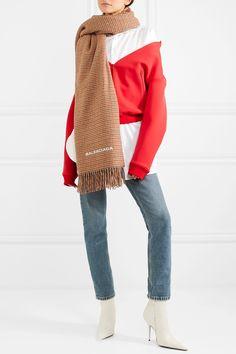 Balenciaga   Houndstooth cashmere and wool-blend scarf   NET-A-PORTER.COM
