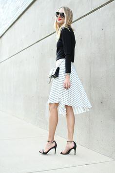 fashion jackson Club-Monaco white asymmetrical skirt black sweater black ankle-strap-Steve Madden heels