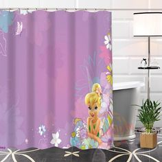 Custom Unique Popular Tinkerbell Shower Curtain Eco Friendly Fabric Modern Bathroom Waterproof For Yourself In Curtains From Home Garden On