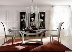 Modern Glass Dining Table with Chairs