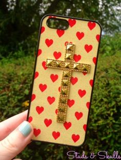 iPhone 5 5S Studded Cross Phone Case Red Heart Valentine Print Cover