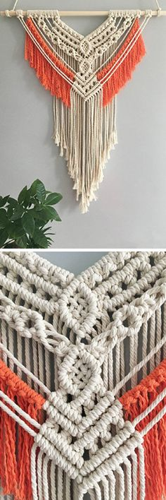 Timestamps DIY night light DIY colorful garland Cool epoxy resin projects Creative and easy crafts Plastic straw reusing ------. Macrame Design, Macrame Art, Macrame Projects, Macrame Knots, Crochet Projects, Macrame Curtain, Macrame Plant Hangers, Yarn Wall Hanging, Wall Hangings
