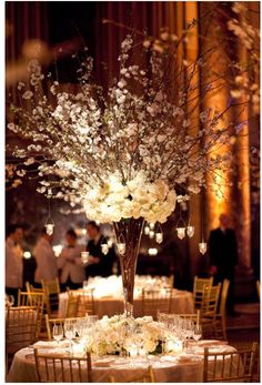 All white with flowering branches