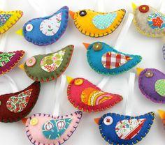 Felt Bird Ornaments. Wholesale Lot of 8. Vintage Fabric Birds.