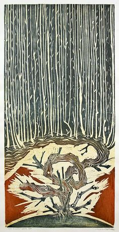 ✽   charles spitzack  -  'new growth'  -  woodcut  -   davidsongalleries.com