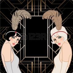 Flapper girl Retro party invitation design Vector illustration Great Gatsby style  Stock Vector