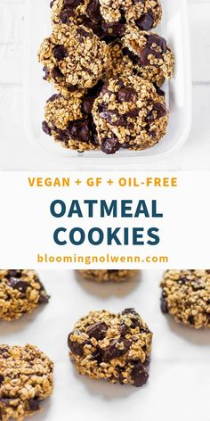 These Oatmeal Chocolate Chip Cookies are soft, easy to make and rich in chocolate. Perfect for a quick and healthy breakfast or dessert! Vegan, gluten-free, oil-free and refined sugar-free. Healthy Oatmeal Cookies, Vegan Oatmeal, Chocolate Chip Oatmeal, Chocolate Chips, Cookies Vegan, Quick Cookies, Quick Chocolate Chip Cookies, Sugar Cookies, Quick Easy Desserts