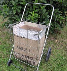 Making a flea market shopping cart liner - Nest Vintage Modern Vintage Modern, Vintage Floral, Vintage Items, Folding Shopping Cart, Shopping Carts, Fun Crafts, Diy And Crafts, Burlap Crafts, Fabric Crafts