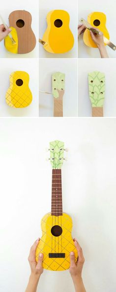 How to make a painted pineapple ukulele. Make this fun, family-friendly instrument and have yourself a sing-a-long this weekend! Nobody can resist this cute little ukulele. Cute Crafts, Crafts To Do, Arts And Crafts, Ukulele Art, Guitar Art, Guitar Painting, Cool Diy, Fun Diy, Pineapple Ukulele