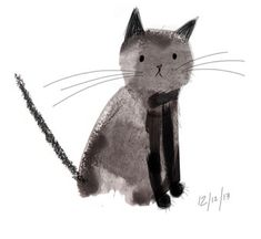 Laura Hughes - Illustration - Laura Hughes – Illustration I've decided to draw every cat I meet from memory. This is the first kitty. A handsome black cat with big fat paws! I Love Cats, Crazy Cats, Cute Cats, Funny Cats, Photo Chat, Here Kitty Kitty, Kitty Cats, Cute Illustration, Cat Art