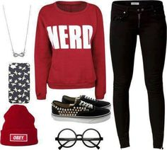 NERD sweater with black skinny jeans, spikey VANS, nerd glasses, and obey hat Tomboy Outfits, School Outfits, Outfits For Teens, Girl Outfits, Cute Outfits, Fashion Outfits, Tomboy Clothes, Club Clothes, Swag Outfits