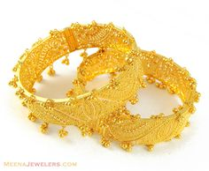 Indian Bangles | 22Kt Gold Kadas with Googri - BaKa4831 - 22Kt Gold Kadas (2 pcs) with ...