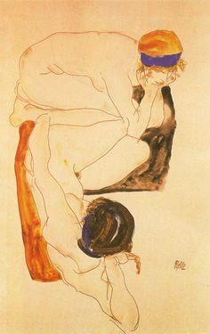 Egon Schiele. 'Zwei liegende Figuren' (Two Reclining figures)  1912.